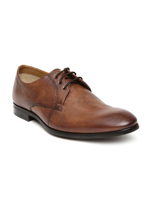 Ruosh Men Tan Brown Leather Formal Derbys