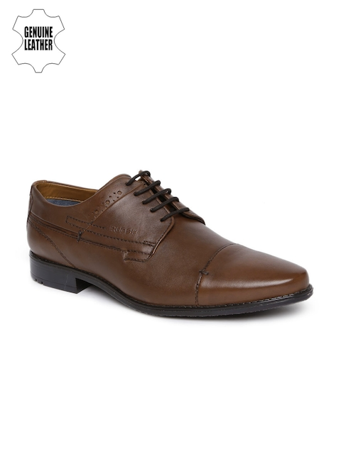 Ruosh Men Brown Leather Formal Derby Shoes