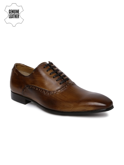 Ruosh Men Brown Genuine Leather Formal Oxfords