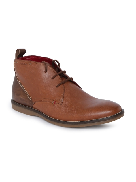 Ruosh Men Tan Solid Leather Mid-Top Flat Boots