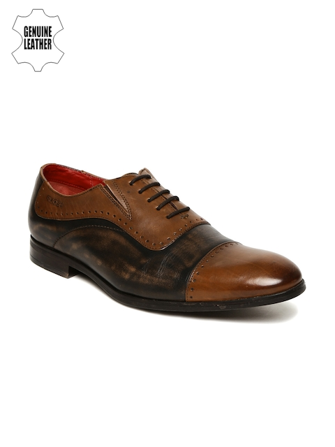 Ruosh Men Tan Brown Genuine Leather Formal Shoes