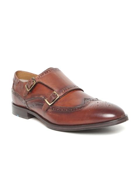 Ruosh Men Tan Brown Genuine Leather Brogue-Style Monks