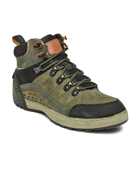 Woodland Men Olive Green & Black Colourblocked Nubuck Mid-Top Flat Boots