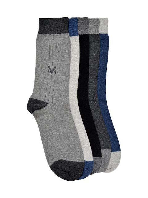 VINENZIA Men Set of 5 Solid Above Ankle-Length Socks