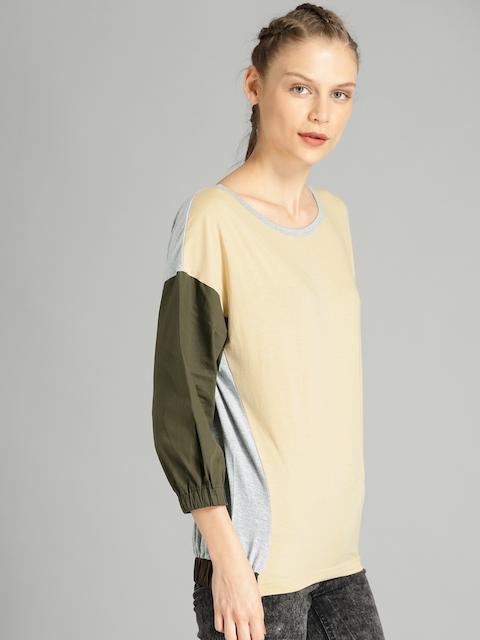 Roadster Women Beige & Olive Green Colourblocked Round Neck T-shirt