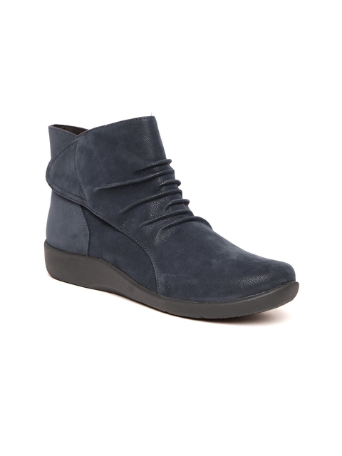 Clarks Women Navy Blue Solid Textile Mid-Top Flat Boots