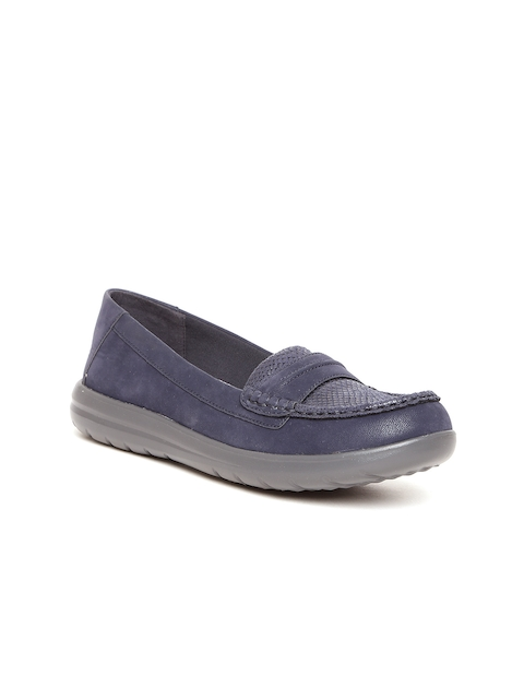 Clarks Women Navy Blue Loafers