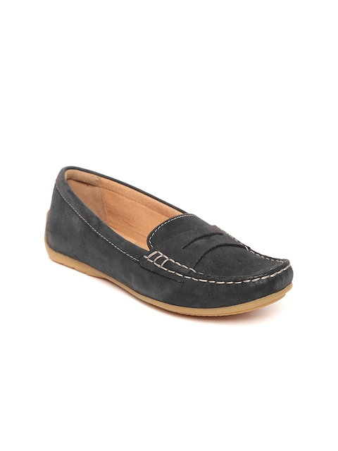Clarks Women Black Nubuck Leather Loafers