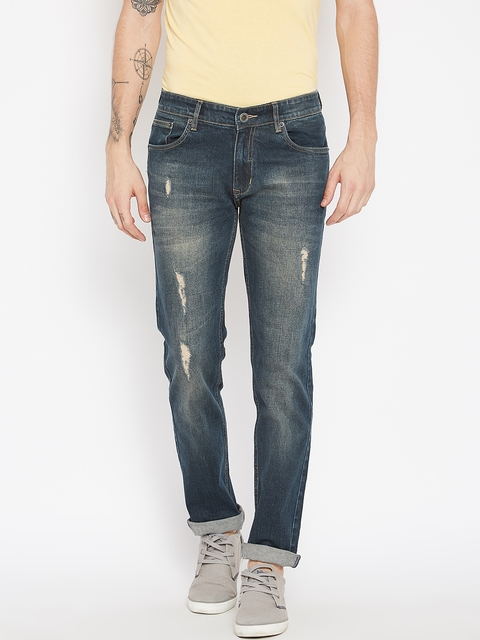 Monte Carlo Men Blue Narrow Regular Fit Mid-Rise Mildly Distressed Stretchable Jeans