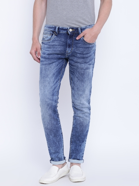 Monte Carlo Men Blue Regular Fit Mid-Rise Clean Look Stretchable Jeans
