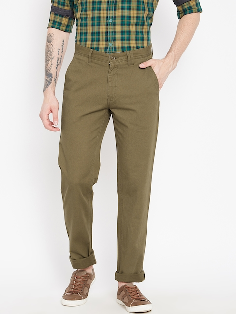 Monte Carlo Men Olive Brown Smart Fit Solid Regular Trousers