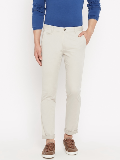 Monte Carlo Men Off-White Smart Fit Solid Regular Trousers