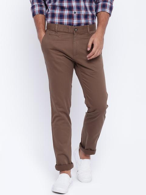 Monte Carlo Men Brown Regular Fit Solid Trousers