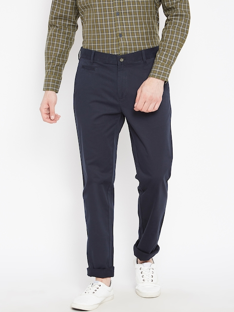 Monte Carlo Men Navy Blue Smart Fit Solid Casual Trousers