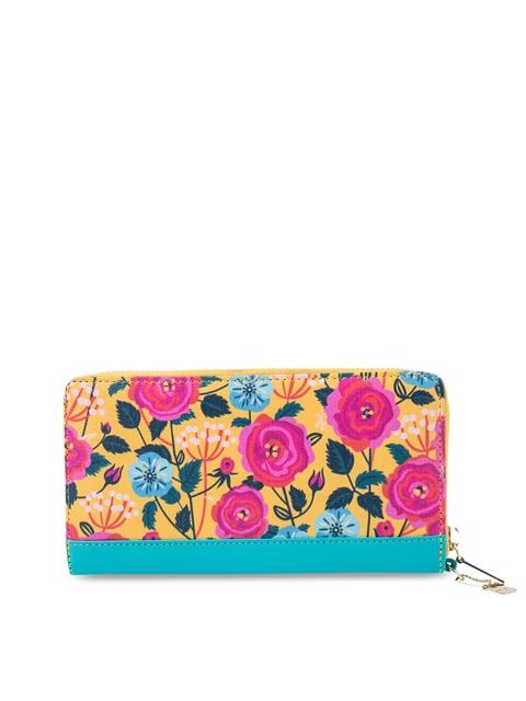 Chumbak Women Pink & Yellow Printed Zip Around Wallet