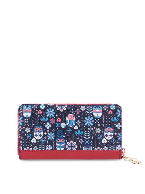 Chumbak Women Navy Blue & Red Printed Zip Around Wallet