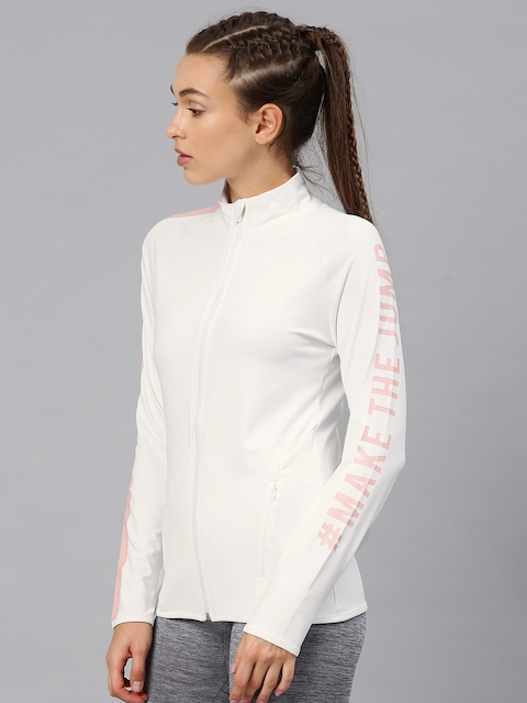 HRX by Hrithik Roshan Women Off-White Printed Sporty Jacket