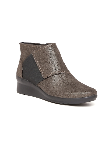 Clarks Women Brown Solid Heeled Boots