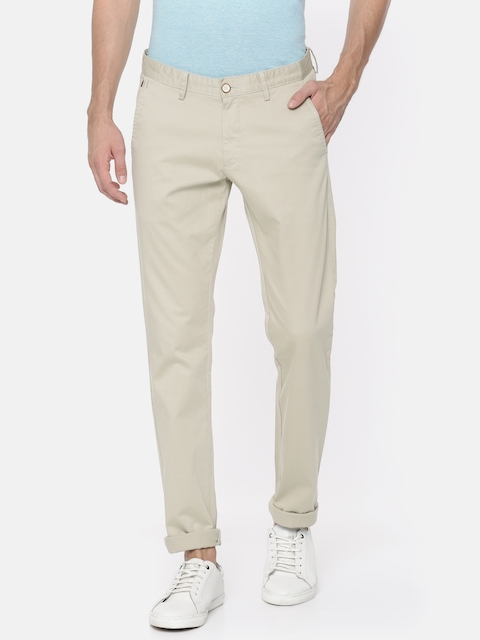 Allen Solly Men Beige Smart Slim Fit Self Design Regular Trousers