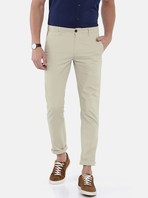 Arrow Sport Men Beige Slim Fit Solid Regular Trousers