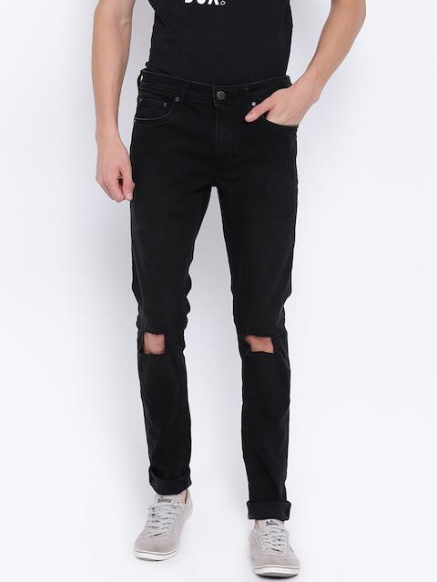 Jack & Jones Men Black Skinny Fit Mid-Rise Slash Knee Stretchable Jeans