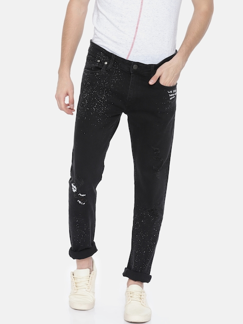 Jack & Jones Men Black Skinny Fit Low-Rise Mildly Distressed Stretchable Jeans