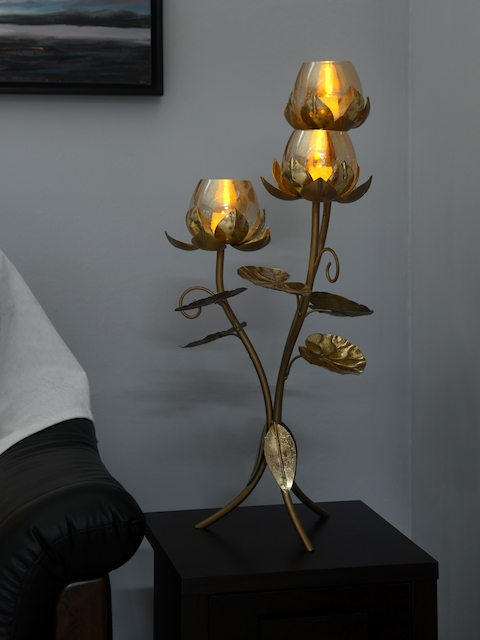 Athome by Nilkamal Gold-Toned Floor Stand Lotus Shaped Candle Holders