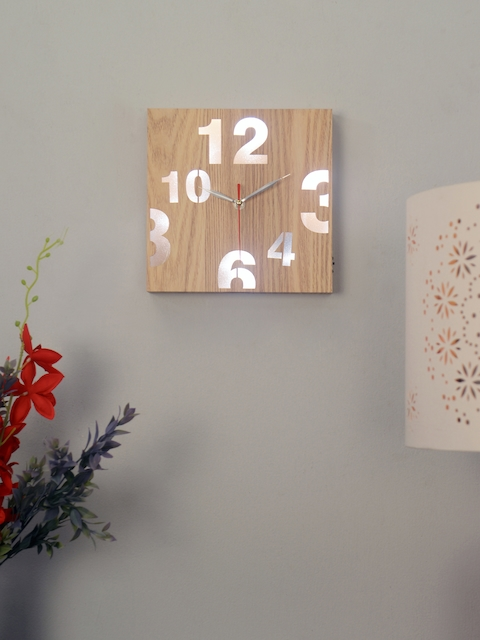 Athome by Nilkamal Brown Rectangle Solid Analogue Wall Clock
