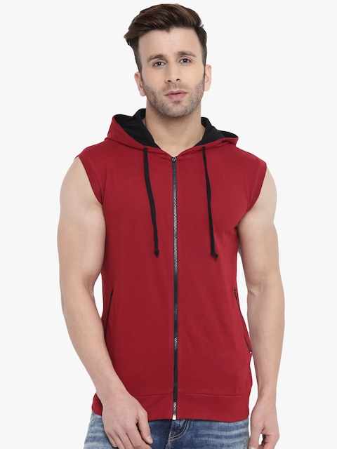 GRITSTONES Men Maroon Solid Lightweight Open Front Jacket