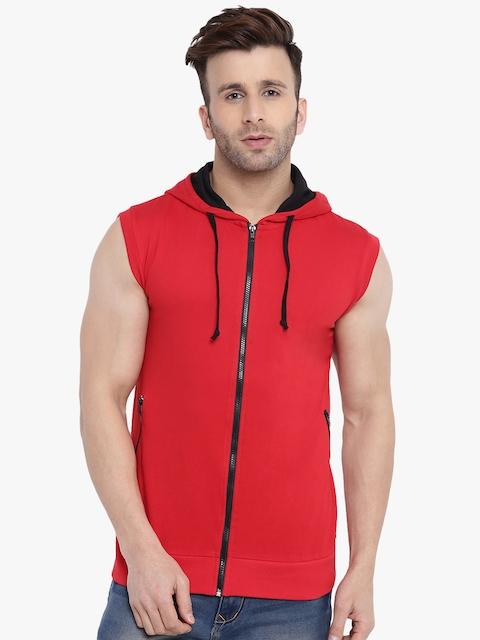 GRITSTONES Men Red Solid Lightweight Open Front Jacket