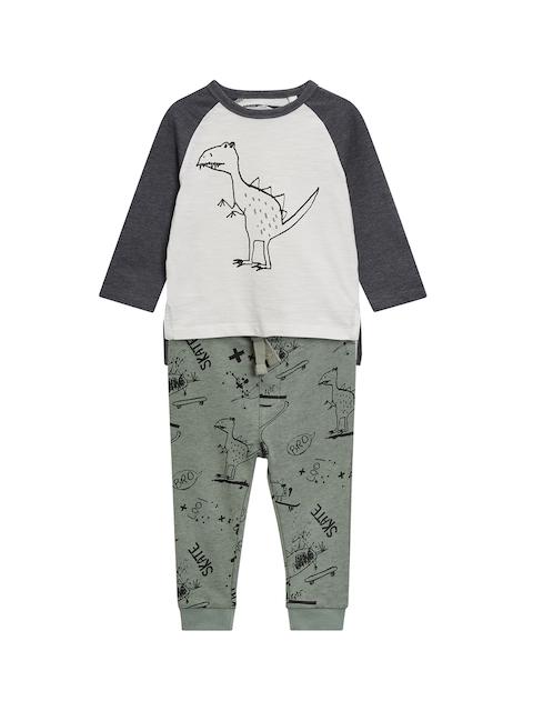 next Boys Grey & Green Colourblocked Top with Pyjamas