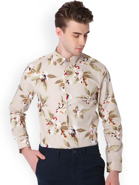 Jack & Jones Men Beige & Green Slim Fit Printed Smart Casual Shirt