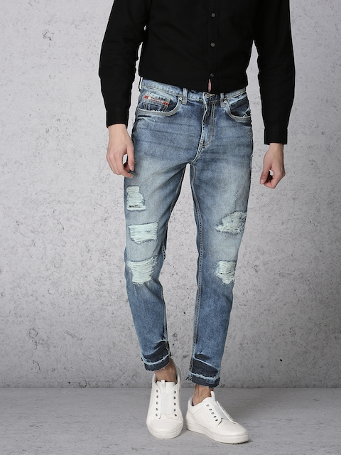 Ecko Unltd Men Blue Tapered Fit Mid-Rise Mildly Distressed Stretchable Jeans