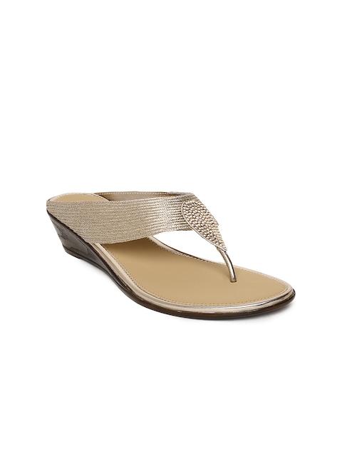 Melange by Lifestyle Women Rose Gold Woven Design Sandals
