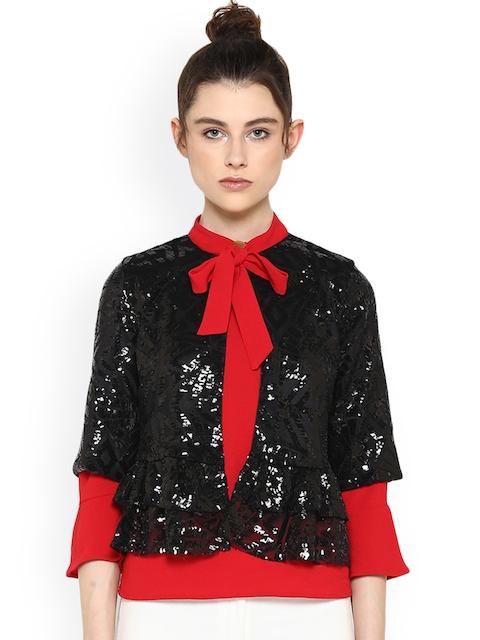 Kazo Women Black Solid Cape Jacket