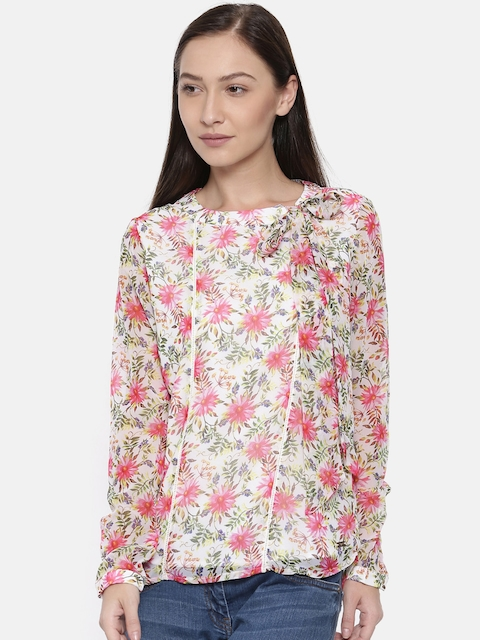 Park Avenue Woman Women Beige Printed Top