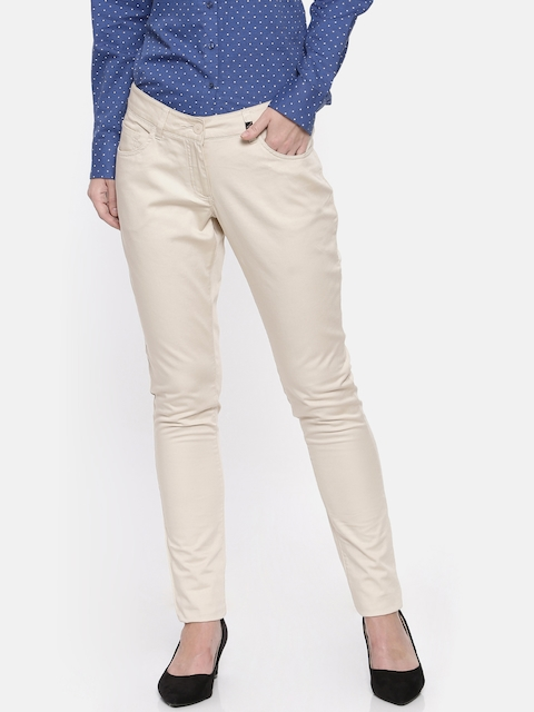 Park Avenue Women Beige Tapered Fit Solid Formal Trousers
