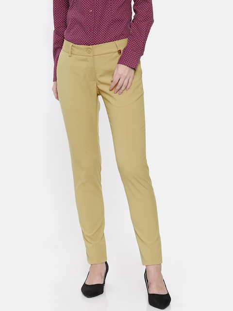 Park Avenue Woman Khaki Tapered Fit Solid Formal Trousers