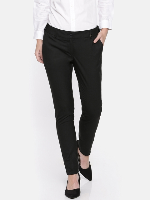 Park Avenue Women Black Slim Fit Solid Formal Trousers