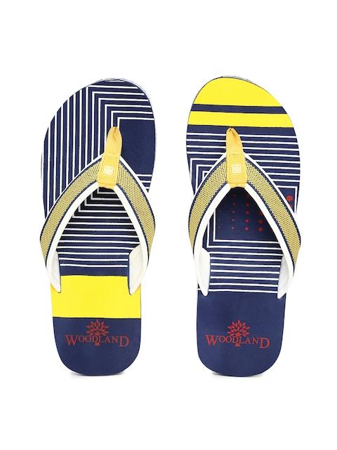 Woodland Men Yellow & Navy Flip-Flops