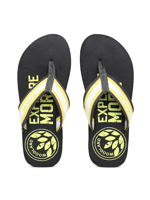 Woodland Men White & Black Printed Thong Flip-Flops