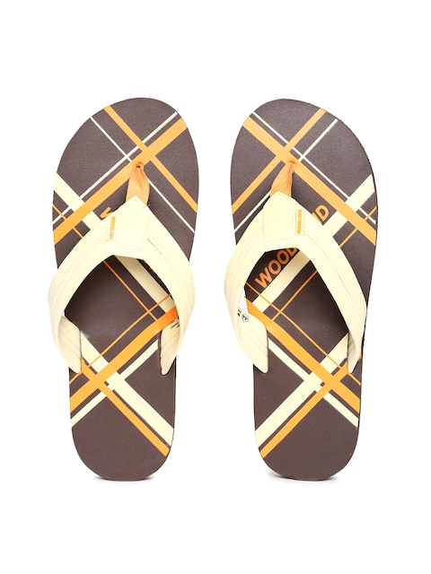 Woodland Men Off-White & Brown Printed Thong Flip-Flops