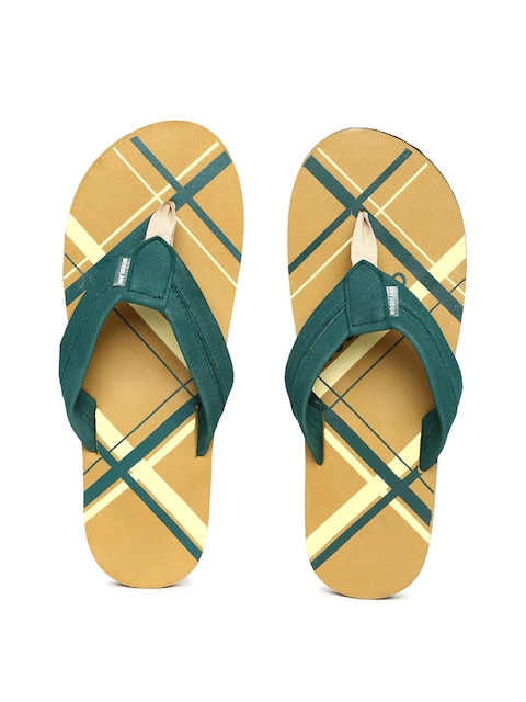 Woodland Men Green & Mustard Yellow Printed Thong Flip-Flops