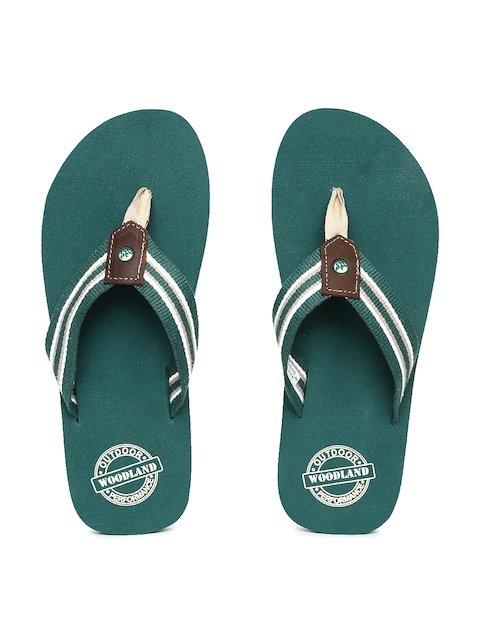 Woodland Men Green Striped Thong Flip-Flops