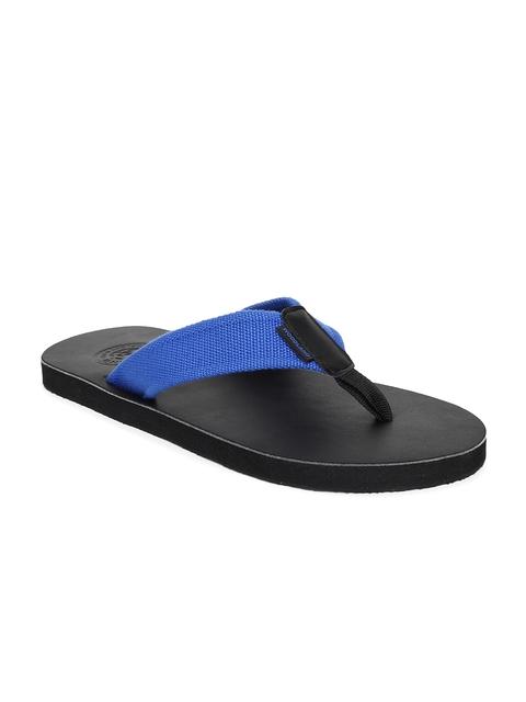 Woodland Men Black & Blue Solid Thong Flip-Flops