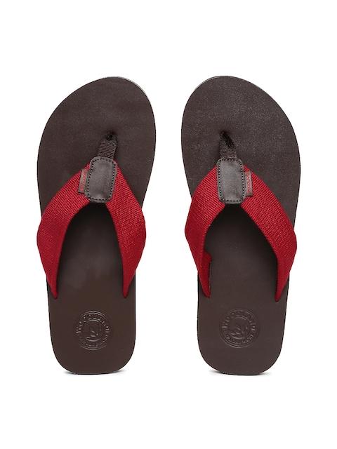 Woodland Men Red & Brown Thong Flip-Flops