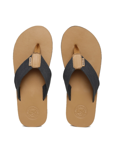 Woodland Men Charcoal Grey & Brown Thong Flip-Flops