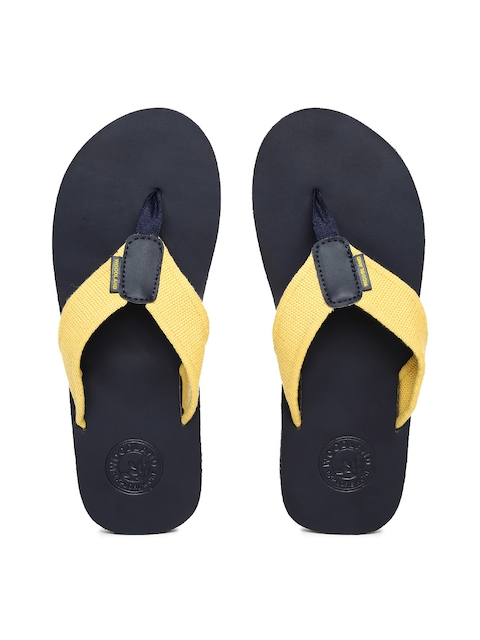 Woodland Men Yellow & Navy Blue Solid Thong Flip-Flops