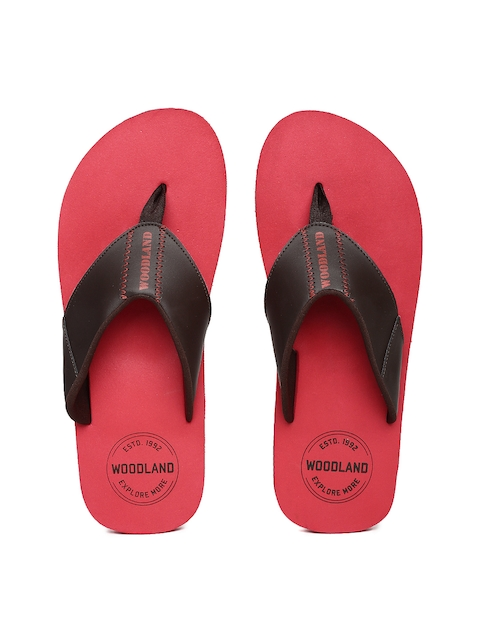 Woodland Men Brown & Red Solid Thong Flip-Flops