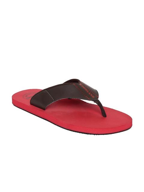 Woodland Men Brown & Red Solid Thong Flip-Flops
